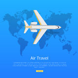 Air Travel Concept. Plane on World Map Web Banner. Royalty Free Stock Photos