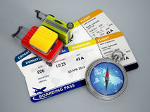 Air travel concept. With tickets, luggage and compass Stock Photos