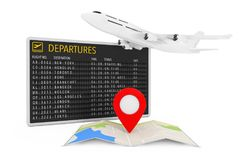 Air Travel Concept. White Jet Passenger`s Airplane and Folded Ab. Stract Navigation Map with Target Pin near Airport Departures Table on a white background. 3d Royalty Free Stock Image