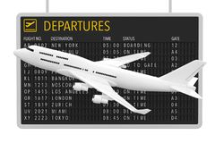 Air Travel Concept. White Jet Passenger`s Airplane near Airport. Departures Table on a white background. 3d Rendering Royalty Free Stock Images