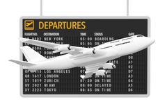 Air Travel Concept. White Jet Passenger`s Airplane near Airport. Departures Table on a white background. 3d Rendering Stock Photography
