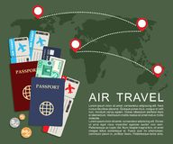 Air travel concept . World map, airline tickets and passports. Vector illustration Royalty Free Stock Photo