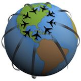 Air Travel Destination East US. Airline Travel Destination: Eastern America. Group of airplane flightpaths to an East Coast airport. Add your text to the map royalty free illustration