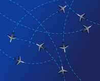 Air travel. Dotted lines are flight paths Royalty Free Stock Photos