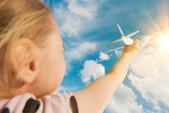 Air Travel Dreaming Girl Royalty Free Stock Images