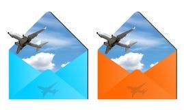 Air travel envelopes. Envelopes with planes on blue sky inside royalty free illustration