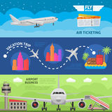 Air Travel Horizontal Banners Set Royalty Free Stock Images