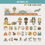 Air travel infographic elements for kids Royalty Free Stock Photography