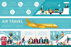 Air Travel infographic flat vector illustration. Presentation Concept Stock Photography