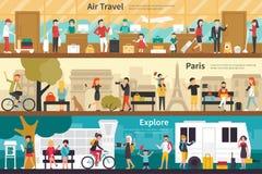 Air Travel Paris Explore flat interior outdoor concept web Royalty Free Stock Photos