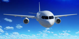 Air travel by plane concept, aircraft flight Royalty Free Stock Image