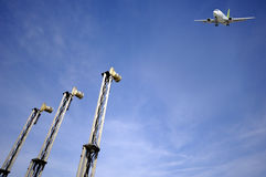 Air travel - Plane near airport Stock Photography