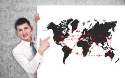 Air travel scheme. Businessman pointing to poster with drawing air travel scheme Stock Photo