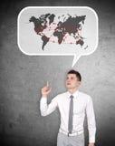 Air travel scheme. Businessman thinking about  air travel scheme Stock Photos