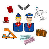 Air travel and service icons Royalty Free Stock Photos