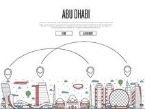 Air travel to Abu Dhabi poster in linear style. Air travel to Abu Dhabi poster with historic architectural attractions and air route symbols in linear style. Abu Stock Photo