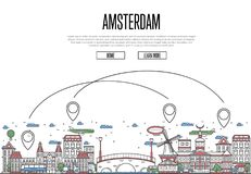 Air travel to Amsterdam poster in linear style. Air travel to Amsterdam poster with historic architectural attractions and air route symbols in linear style Stock Images