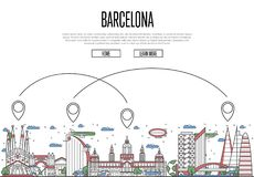 Air travel to Barcelona poster in linear style. Air travel to Barcelona poster with historic architectural attractions and air route symbols in linear style Stock Photos