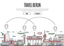 Air travel to Berlin poster in linear style. Air travel to Berlin poster with national architectural attractions and air route symbols in linear style. Berlin Royalty Free Stock Photography