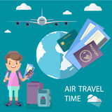 An air traveler with a suitcase holds in his hands tickets and a passport, tourism associated with an airtravel. Vector image of elements of decor on the theme Royalty Free Stock Photography