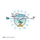 Air travelling, airplane flight concept with linear icons Royalty Free Stock Photography
