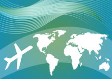 Air travelling background with stylized world map and silhouette of an airplane on blue and green gradient area Stock Photo