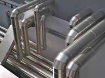 Air treatment pipes. Aluminium pipes used for heating, air treatment, airconditioning, ventilation etc Royalty Free Stock Image