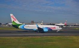 Air Vanuatu flight on the runway at Sydney Airport Stock Images