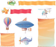 Air vehicles with banners Royalty Free Stock Photo