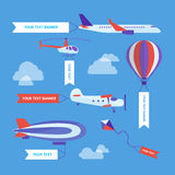 Air Vehicles Banners Set. Vector Royalty Free Stock Photo