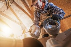 Free Air Ventilation Heating And Cooling Worker Stock Photos - 180850573
