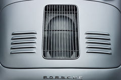 Air vents of the engine compartment of a sports car Porsche 356 Speedster. BERLIN - JUNE 14, 2015: Air vents of the engine compartment of a sports car Porsche Stock Image