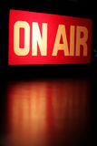 On-Air Vertical. On-Air studio sign glowing with red reflection royalty free stock images