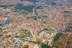 The air view of Almada. Portugal. The air view of Bem Me Quer condominium in the form of the eye in Charneca de Caparica parish. Almada. Portugal royalty free stock photo