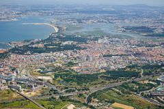 The air view of Almada. Portugal. The air view of Almada on the left bank of Tagus river. Lisbon. Portugal Stock Photo