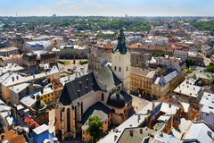 Air view on the Cathedral and the Lviv City Royalty Free Stock Image