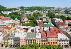 Air view on the central part of Lviv City. Stock Photos