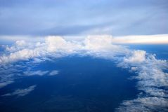 Air-view - cloudscape. Cloudscape, aerial view: blue sky and white clouds Stock Photo
