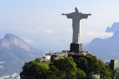 Air view cristo redentor - Rio De Janeiro - Brazil. The statue of Christ the Redeemer (Cristo Redentor) at Corcovado in Rio De Janeiro in Brazil - South America Royalty Free Stock Photo