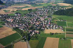 Air view on farm fields Royalty Free Stock Photo
