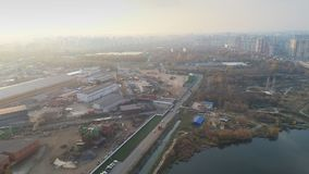 Air view of the industrial part of the city stock video