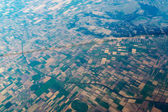 Air view on landscape with geometric shaped Stock Photo