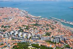 The air view of Lapa district of Lisbon. Portugal stock photo