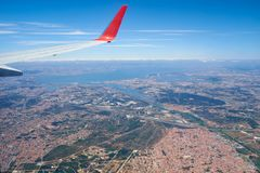 The sky view of the Lisboa outskirts. Lisboa. Portugal royalty free stock image