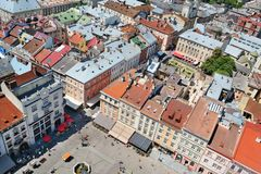 Air view on the market square in Lviv City Royalty Free Stock Images