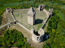 Air view of ruins of Bac fortress in Serbia. Air view of medieval Bac fortress in Serbia province Vojvodina stock image