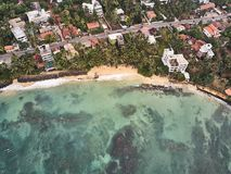 Air view of the ocean and beach. City of mirissa, Sri Lanka. Shooting from the air. royalty free stock images