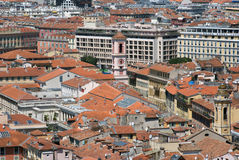 Air view of old town of Nice in french riviera Stock Image