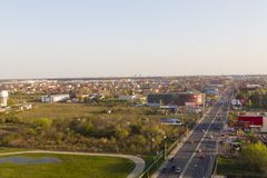 Air view of Otopeni city. And 1st national road DN1, Romania royalty free stock images
