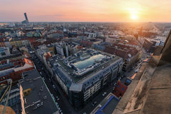 Air view panorama of old Wroclaw city during sunset. Poland Euro Royalty Free Stock Photo